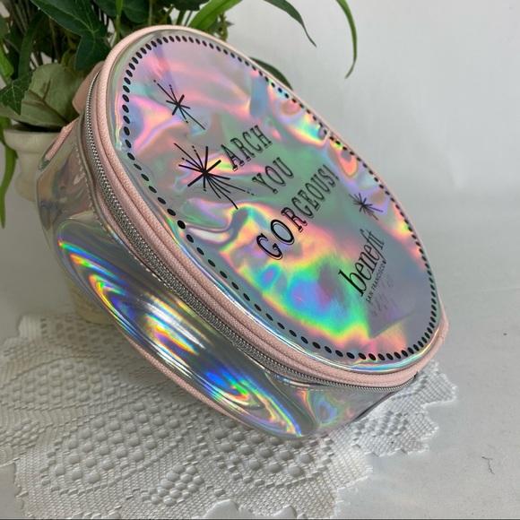 New BENEFIT Round Metallic Makeup Bag